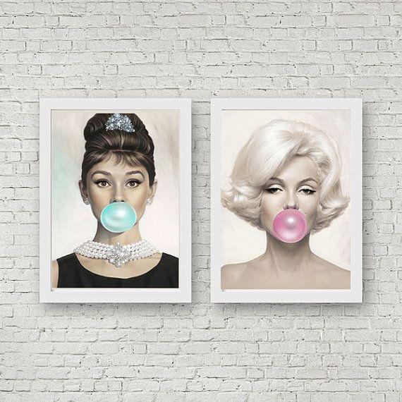 Audrey Hepburn Marilyn Monroe Bubblegum Print Home by WallBuddy