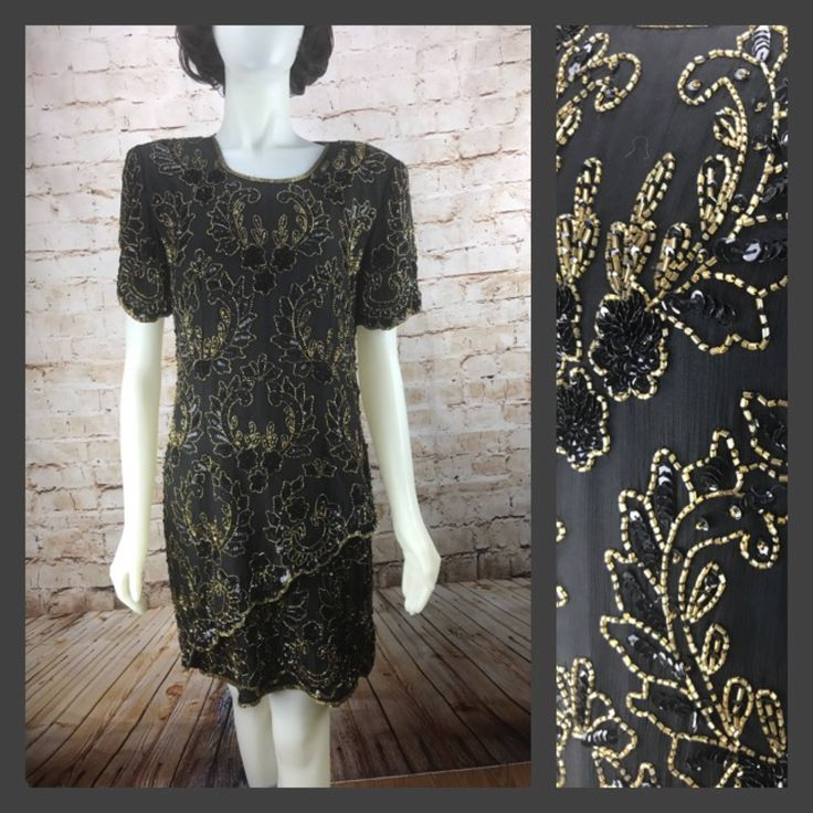 A personal favorite from my Etsy shop https://www.etsy.com/listing/497965169/stenay-black-and-gold-beaded-dress