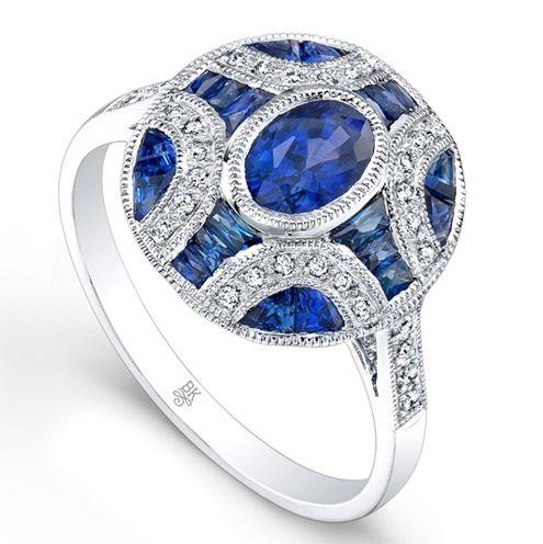 Oval Sapphire Art Deco Ring