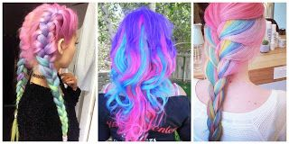 Rainbow Hairstyle #hairstyle #women #fashion #moda #mujeres