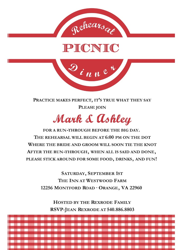rehearsal picnic invitation