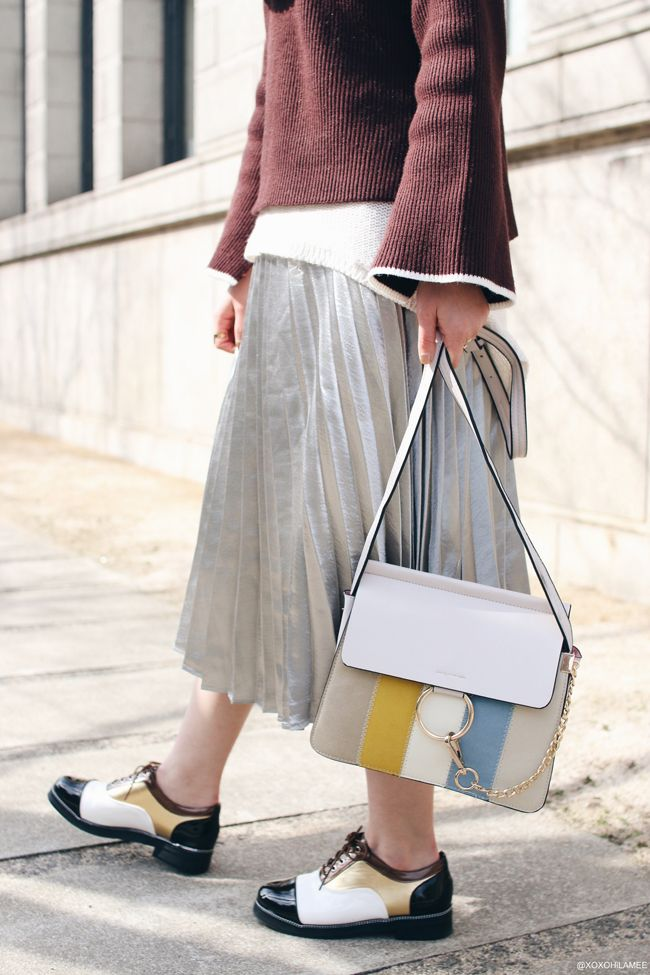 Japanese Fashion Blogger,MizuhoK,20170225,OOTD,DIESEL-HAT,Devilish Tokyo-Snoods,Rosegal-dark brown flare sleeves sweater,ZARA-white sweater,YOSHOP-silver pleated skirt,gray&multicolor shoulder bag,SheInPatchwork Oxfords shoe, casual chic style