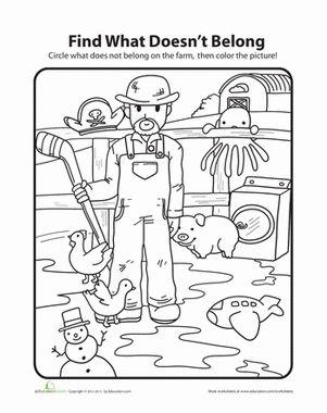 what doesn 39 t belong farm worksheets for kindergarten farmers and kindergarten. Black Bedroom Furniture Sets. Home Design Ideas