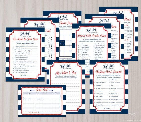 Nautical Bridal Shower Bundle Games Digital PDF by DearHenryDesign