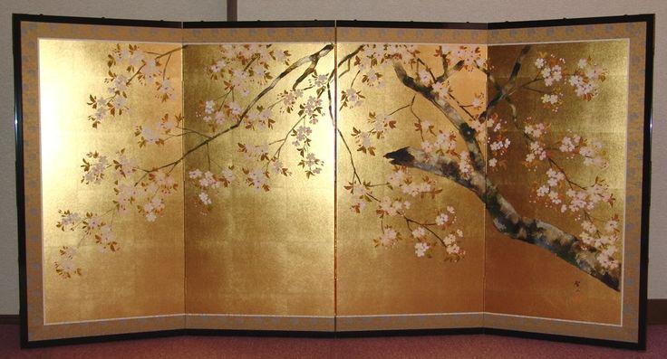 sakura byobu japanese folding screen frame pinterest