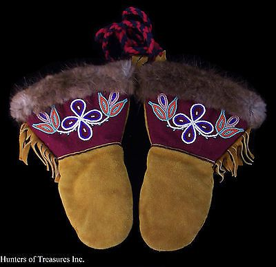 Old Vtg Indian Beaded Mittens Cree Native American Beadwork Child Gloves