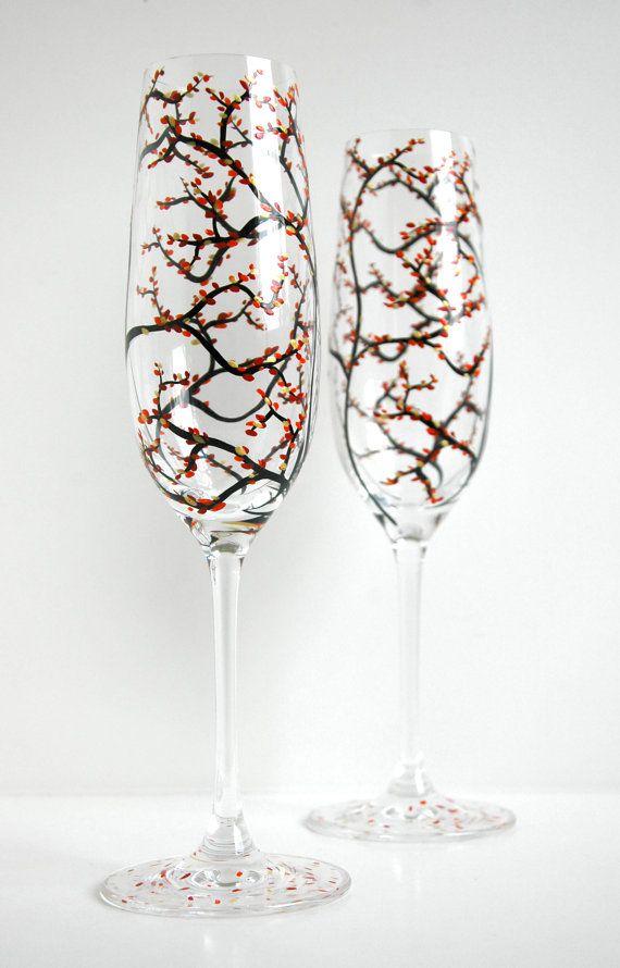 Personalized Fall Wedding Champagne Flutes by MaryElizabethArts $68.00