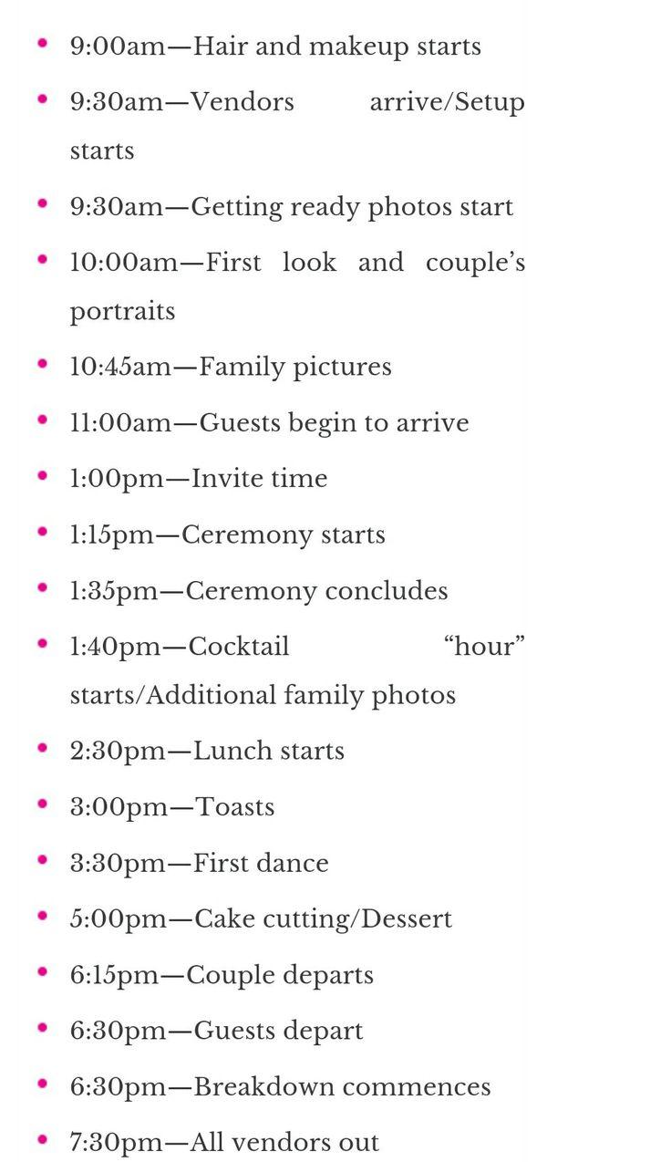 Afternoon wedding timeline