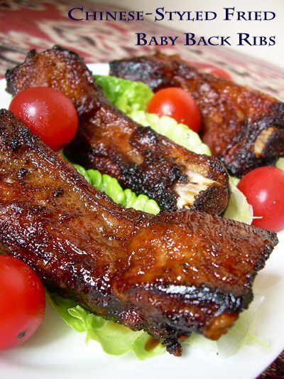 Recipe for Chinese Style Fried Baby Back Ribs  •Marinade  •1 tablespoon oyster sauce  •1 tablespoon hoisin sauce  •1 teaspoon chinese cooking wine  •1 teaspoon worcestershire sauce  •1/2 teaspoon salt  •liberal dashes of white pepper powder  •1 teaspoon of cornstarch