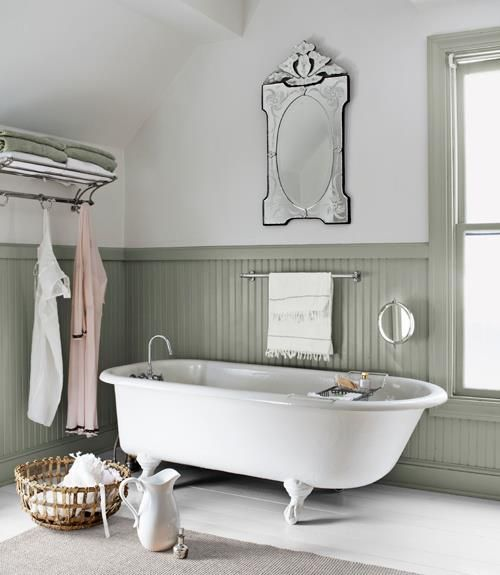Bathroom Decorating And Design Ideas Country Bathroom Decor Country Living Gorgeous Beveled Mirror Nice Wainscot Clawfoot Tub