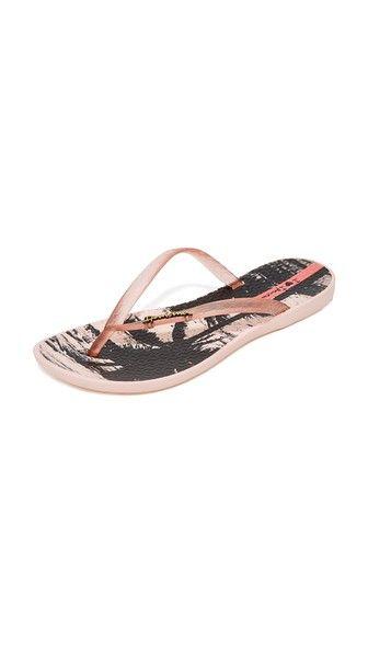 Pink Ipanema Wave Postcard Flip Flops