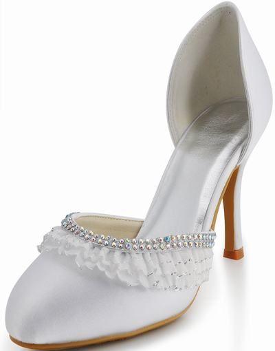 Sleek nya vita sido spets klack bröllop skor rhinestone skor mild skönhet bankett cykel EP1