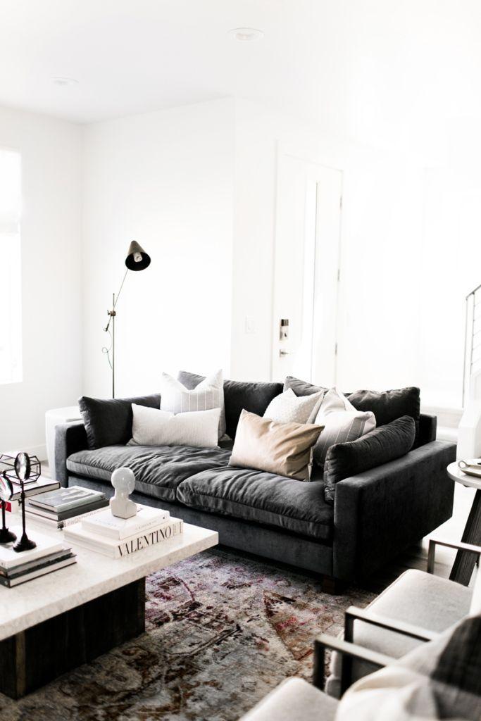 Living Room Interior Design Decor Modern Farmhouse Gallery Wall - Restoration hardware marble coffee table