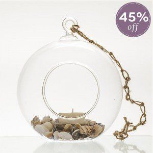 Lizard Island Beach Hanging Glass & Shell Candle Set
