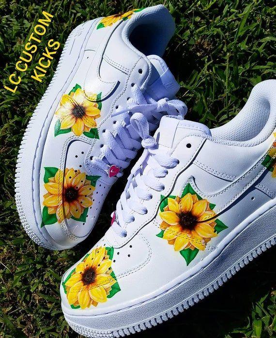 Nike Af1 Sunflower custom | Etsy in 2020 | Nike air shoes ...