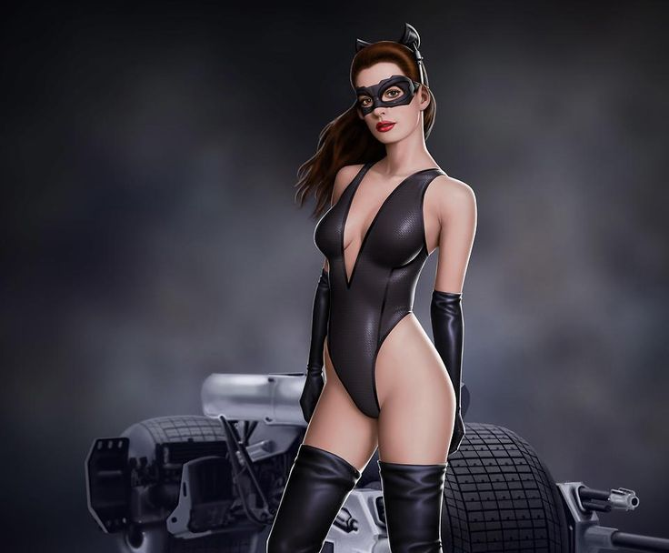 Where can blonde in sexy catwoman suit