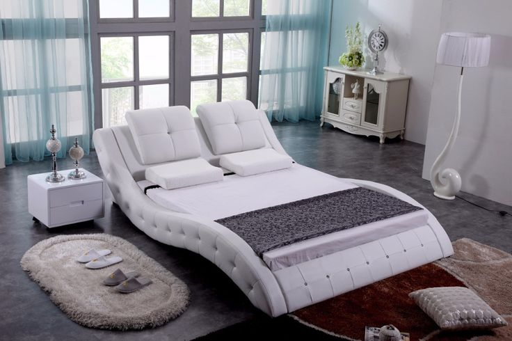 Blanco diamante copetudo contemporáneo moderno de cuero suave cama muebles de dormitorio de matrimonio Hecho en China