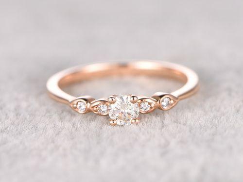 5mm Round Moissanite Engagement Ring Diamond Wedding Ring 14k Rose Gold Milgrain Antique Style