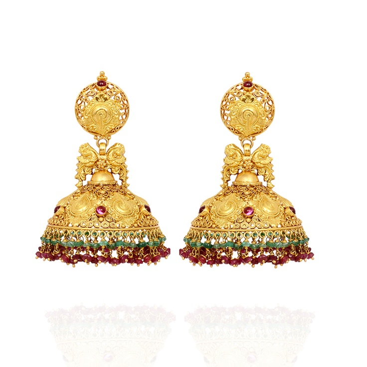 Antique Nagas work Jhumkas edged with Ruby and Emerald Beads