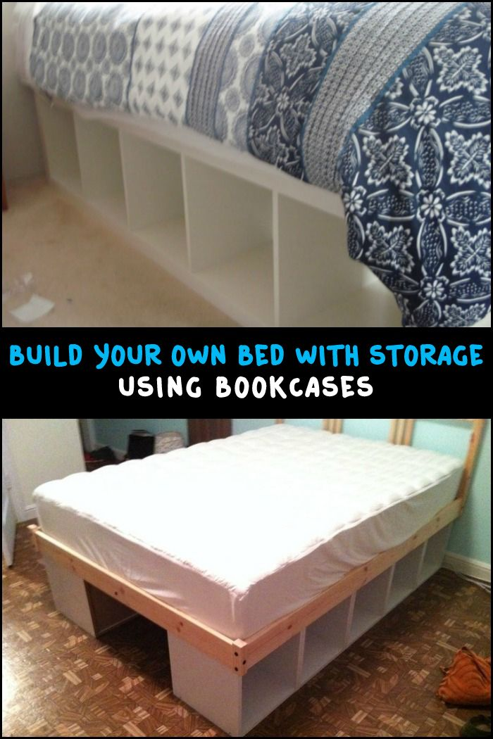 using bookcases as a bed frame is one easy way to build a bed with storage - Cheapest Bed Frame