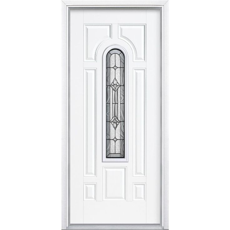 Masonite Providence Center Arch Primed Steel Prehung Front Door with Brickmold-14681 - The Home Depot