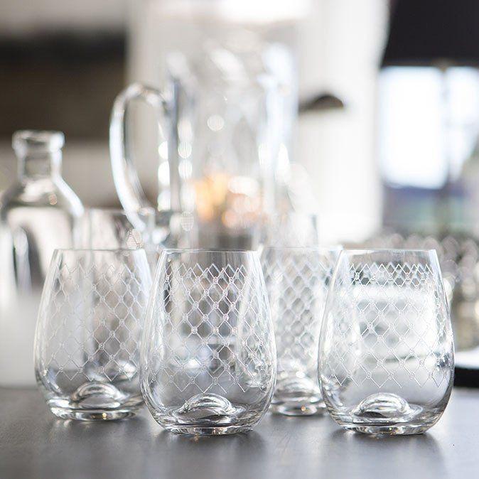 Stemless Wine Glass Fishnet