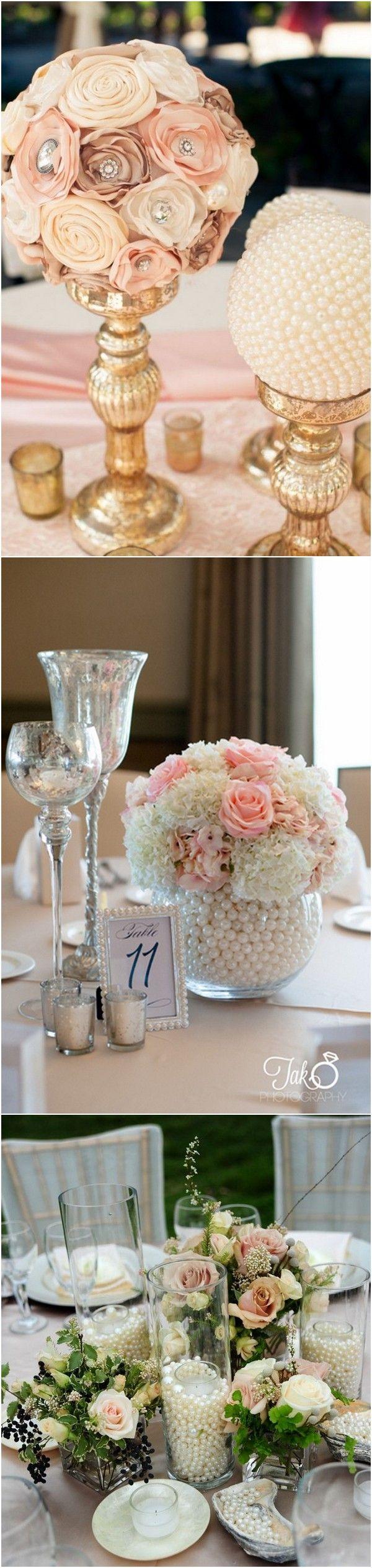 pearls inspired vintage wedding centerpieces