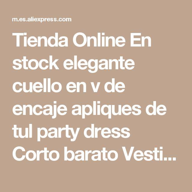 Tienda Online En stock elegante cuello en v de encaje apliques de tul party dress Corto barato Vestidos de Baile 2016 Menos de 50 $ Para Los Adolescentes de Graduación vestidos | Aliexpress móvil