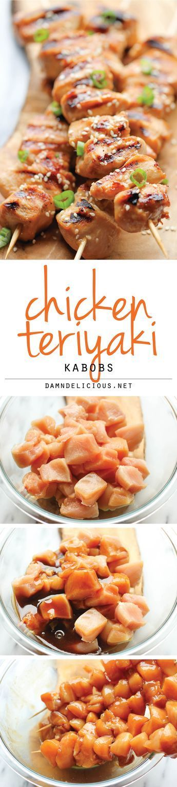 Chicken Teriyaki Kabobs - These savory sweet chicken kabobs are unbelievably easy to make and they're so perfect for game day!