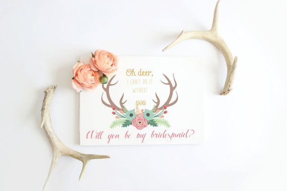 Will you be my bridesmaid card deer antlers by Papierscharmants