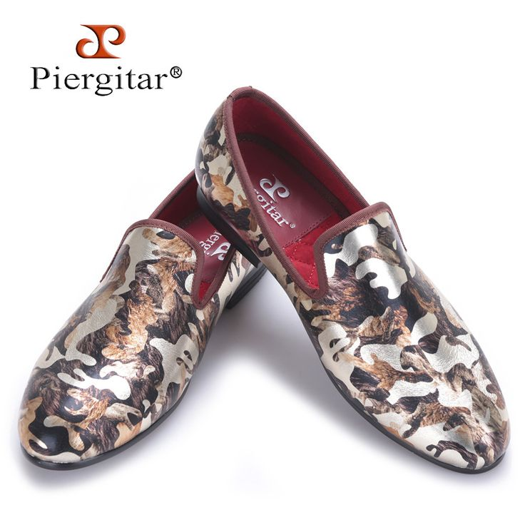 Piergitar 2017 New men flats shoes with camouflage printing Luxurious British style men smoking slippers big size male loafers