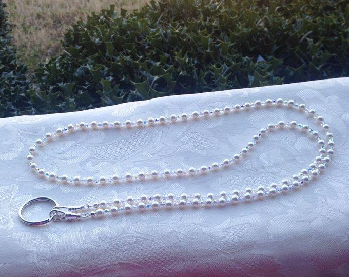 White Pearl Lanyard for Badge Swarovski Round Crystal Pearl Beaded Lanyard Necklace ID Badge Holder