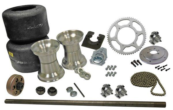 Drift Trike Axle Kit with Tires, Rims, & Clutch (#40 Chain)