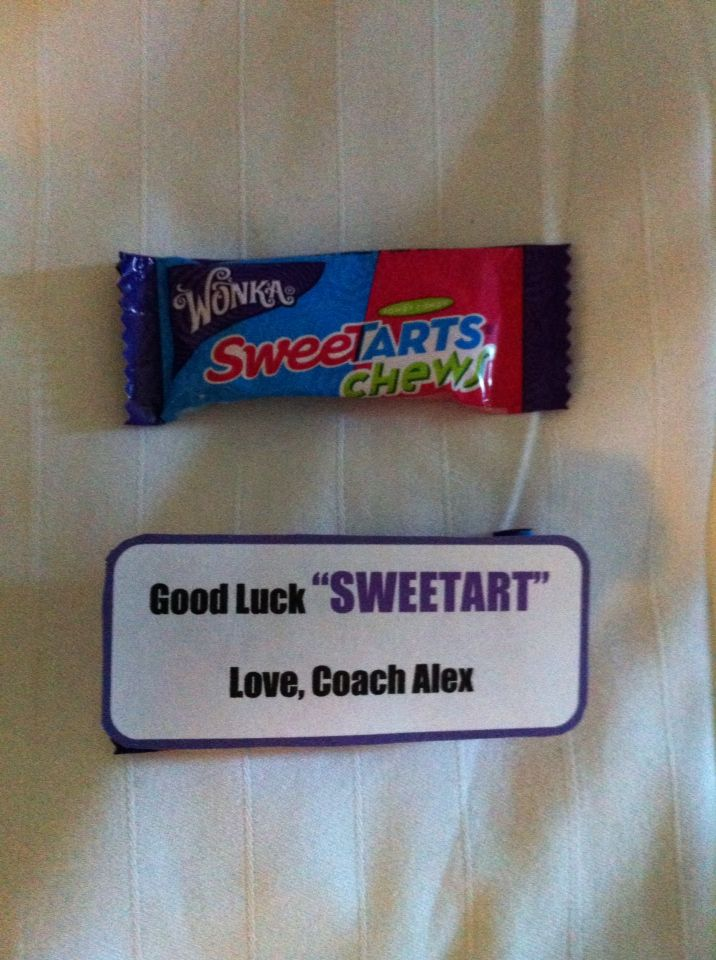 """Motivational gift, cheer candy, inspirational, cheerleading, team gift, coaches gifts, """"good luck SWEETART"""", candy sayings, candy grams, DIY, cheer gram, competition good luck gift, cheer treat"""