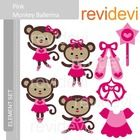 Clipart Pink Monkey Ballerina, Ballet clip art.  Cute clip art set for teachers and educators. Great resource for any school and classroom projects...
