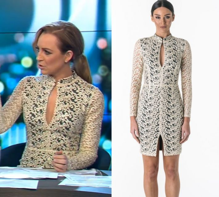 Nov  by Kirsty0 Comments Carrie Bickmore wears this neck cut out long sleeved lace mini dress in this episode of The Project on Thursday the 16th of November 2017. It is the Santina Nicole Aurora Embroidered Keyhole Dress. Buy it HERE for $239.00