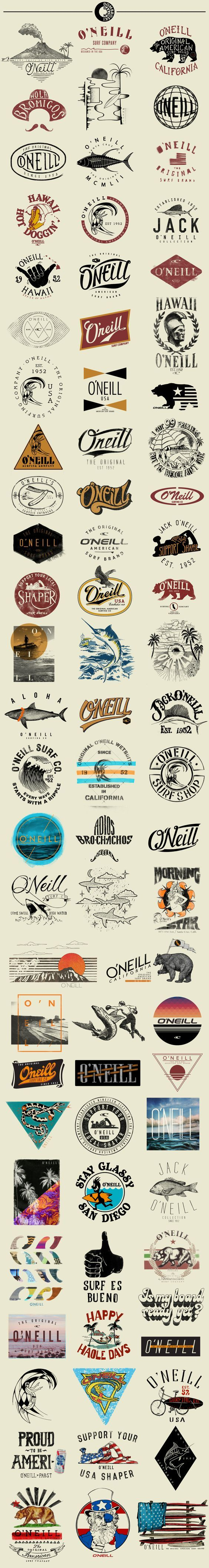 O'Neill T-Shirt Graphics by Ray Dombroski. O'Neill is known as the Original American Surfing Company. It began as a wetsuit company and surf shop, founded by Jack O'Neill in 1952. It continues to be one of the most sought-after surf brands today.: