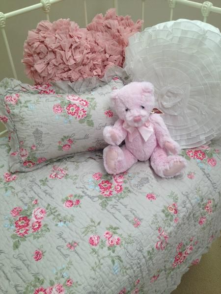 French Provincial Floral Cot Quilt from the Lovely Linen Store. This French Provincial inspired design features soft script, pretty florals, a soft ruffle border.  #LovelyLinen #FrenchProvincialNursery