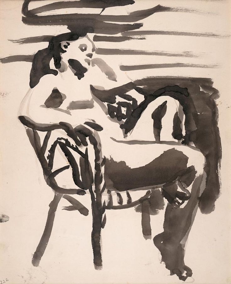 David Park, Figure in Chair, 1960; ink on paper   Collection SFMOMA