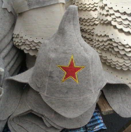 Felted Cap Felt Hat for Russian Sauna Budyonovka by ingryda123