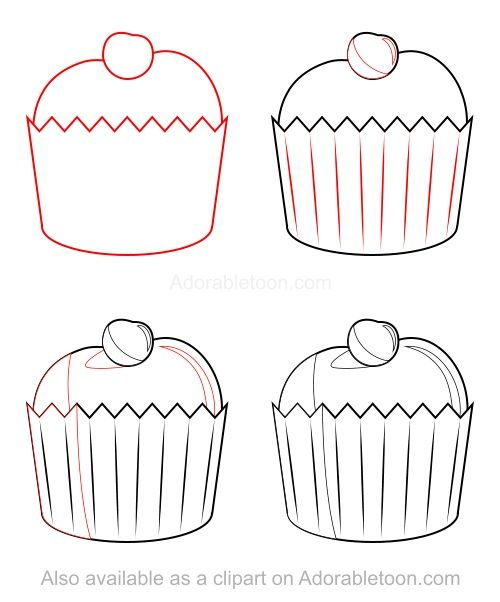 how to draw a cupcake step by step easy