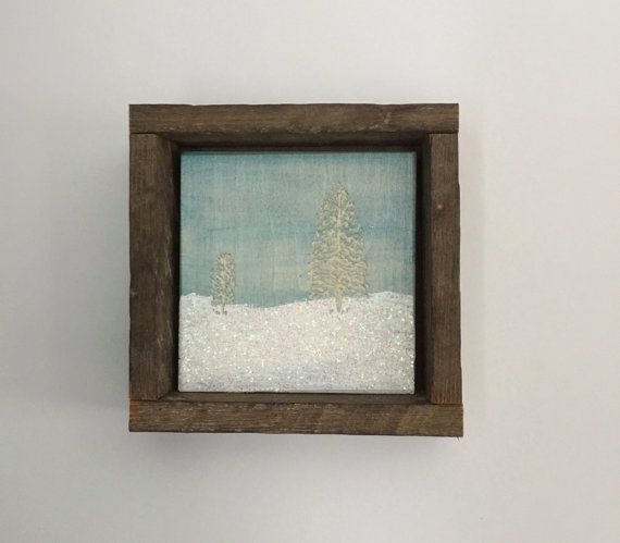 Holiday Decor, Rustic Winter Art, Primitive Home Decor, Snow Scenes, Glitter, Aqua Christmas, Light Blue, Sky, Pine Tree, Gift