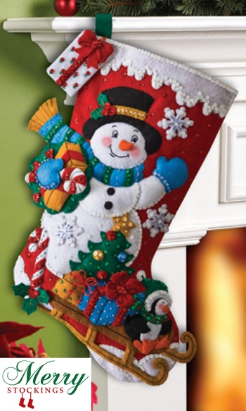 Snowman with Presents Bucilla stocking kit scheduled for April 2013 release from MerryStockings.com.