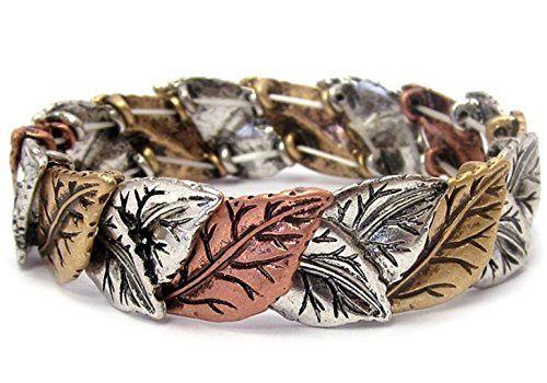Tri Tone Leaf Stretch Bracelet D3 Copper Gold Silver Tone... www.amazon.com/...