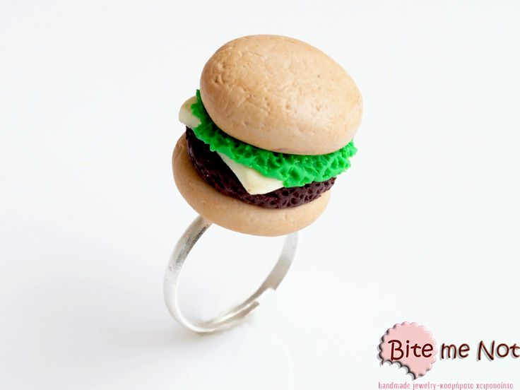 ''Burger'' -Silver plated adjustable ring base!  -American burger with cheese and lettuce!