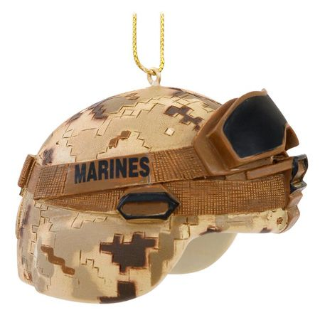 "USMC Combat Helmet Ornament-Celebrate the USMC this Christmas with this combat helmet ornament! Artfully crafted of resin with authentic detail, this exceptional keepsake features a desert camouflage helmet and with goggles bearing the bold MARINES name. This 1_"" tall x 2_"" wide comes ready to hang with a gold cord and makes a great gift for those brave individuals who serve our country so admirably!"