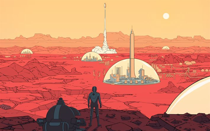 Download wallpapers Surviving Mars, 4k, 2018 games, poster, strategy