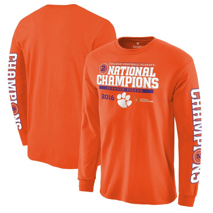 Clemson Tigers Fanatics Branded College Football Playoff 2016 National Champions Multi-Champ Long Sleeve T-Shirt - Orange