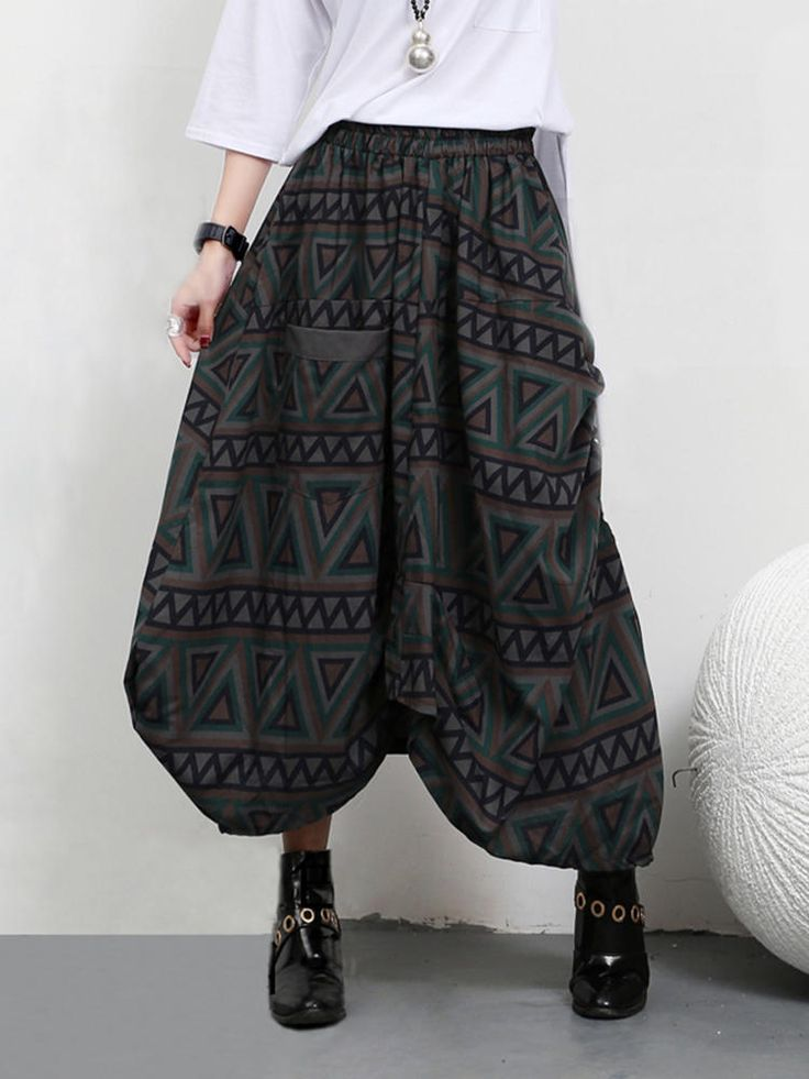 Only US$35.89 , shop Vintage Women Geometric Printing High Waist Irregular Skirt with Pockets at Banggood.com. Buy fashion Skirts online.