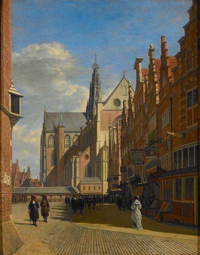 Gerrit Adriaensz Berckheyde (1638 - 1698). De grote markt te Haarlem, c. 1670 - 1675. Olieverf op paneel. 53 x 42,5 cm. Collectie: Koninklijke Musea voor Schone Kunsten van België, Brussel.
